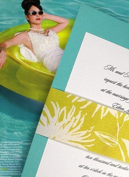 tiffany blue invitations with floral sash