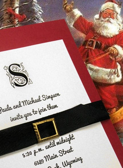 Holiday Invitation Idea with Chic Grosgain Belt and Brass Buckle