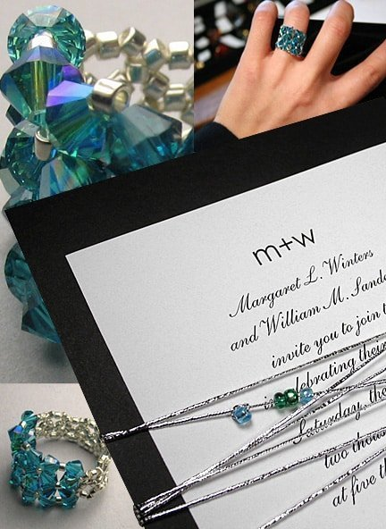 Luxe Black and Ocean Blue Wedding Invitations with Glass Bead Bling