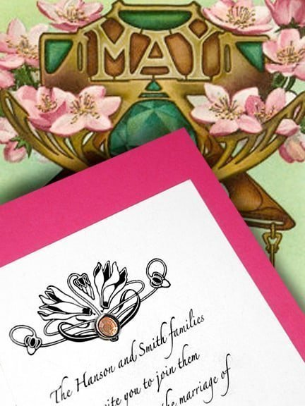 Divine Art Deco Pink and Orange Wedding Invitations