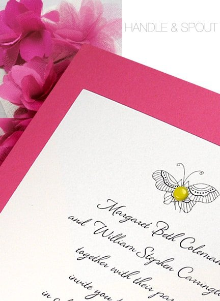 Chic Berry Pink Wedding Invitations with Yellow Mini Brad
