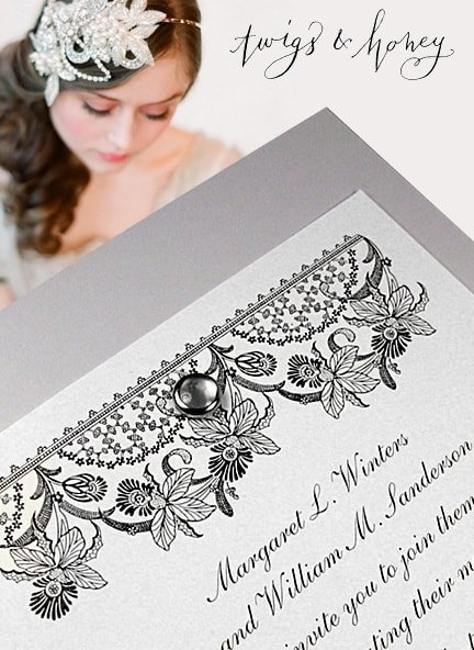 Exquisite Gray Wedding Invitations with Vintage Lace Art and Pearl Brad