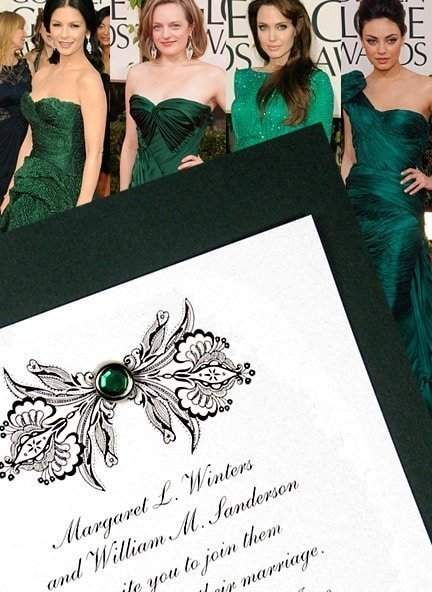 Elegant Emerald Green Wedding Invitation Ideas