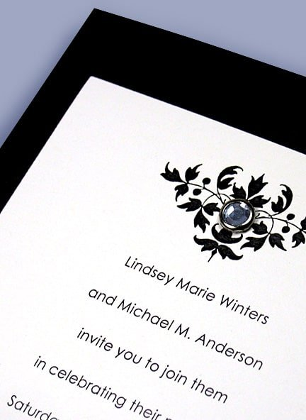 Elegant Black Wedding Invitations with Zircon Crystal Brad