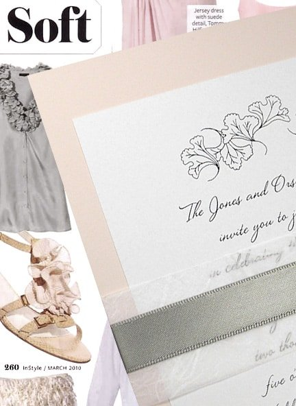 Soft Pink Wedding Invitations with Ginkgo Leaves, Unryu and Gray Satin Belly Band