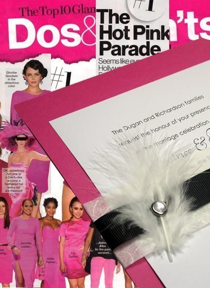 "Hot Pink Wedding Invitations with Feathers… It's a ""Do"""