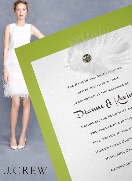 Feather Dress from J.Crew, Feather Invitations from Formal-Invitations.com