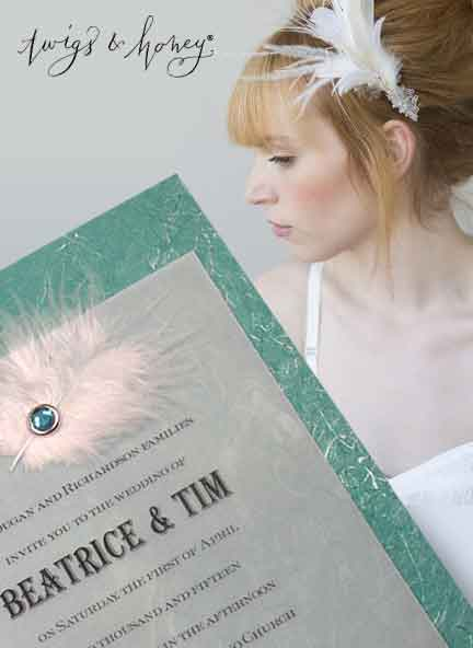 Fab Wedding Invitation Idea with Marabou Feather and Crystal Brad
