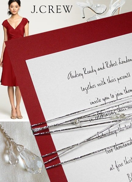 Glam Red Wedding Invitations with Silver Cord and Glass Beads
