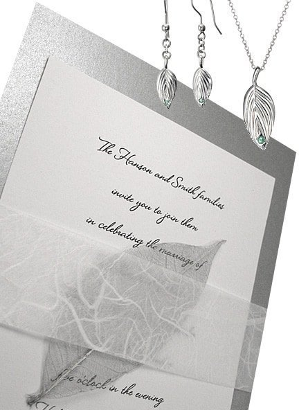 Stunning Silver Wedding Invitations with Real Skeletonized Leaf Embellishment