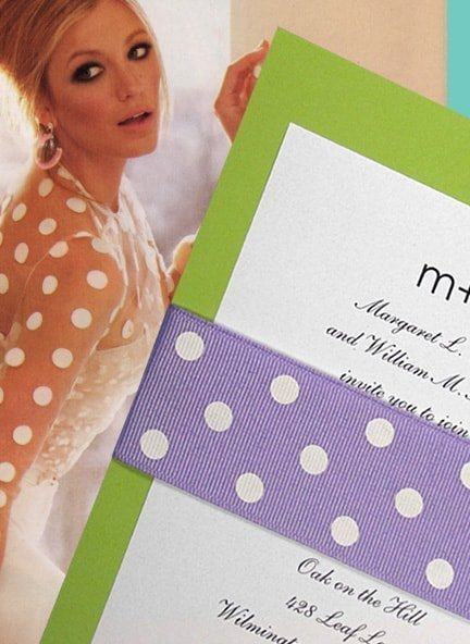 Fresh Pear Green Wedding Invitations and Lavender Polka Dot Wrap for Spring