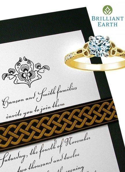 Beautiful Irish Wedding Invitation Idea with Embroidered Celtic Wrap