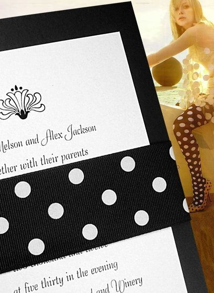 Chic Black Polka Dot Wedding Invitations with Grosgrain Wrap