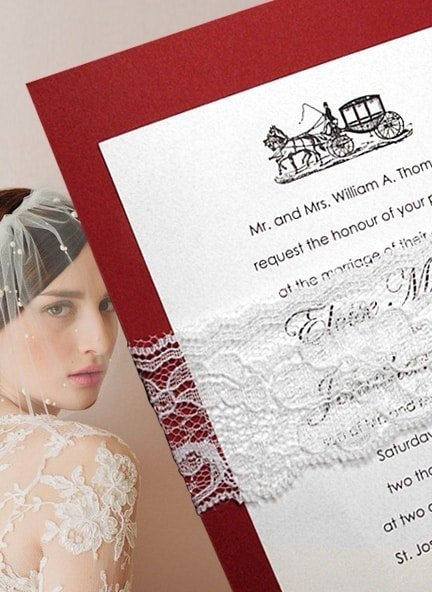 Fabulous Red Wedding Invitation Ideas with Lace