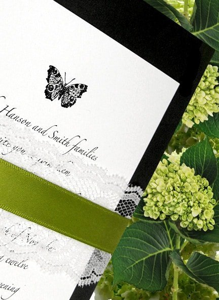 Sophisticated Black Wedding Invitation with Moss Band and Lace