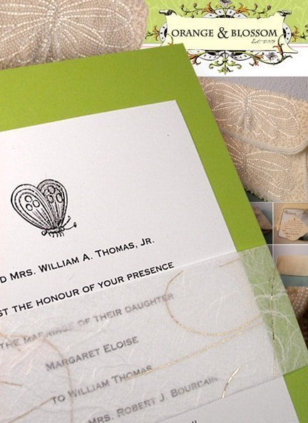 Chic Pear Green Wedding Invitations with Unryu Sash
