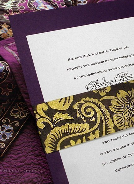 Purple, Brown & Gold Wedding Invitation Idea