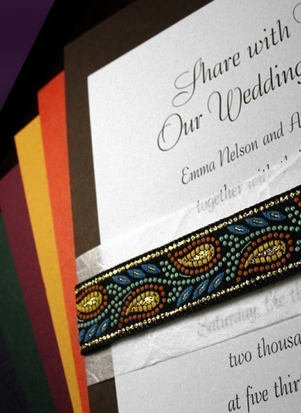 Fabulous Fall Wedding Invitations with Unryu and  Jacquard Embroidered Band