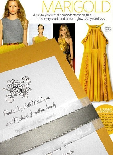 Chic Marigold Yellow Wedding Invitations with Unryu and Silver Satin Belly Band