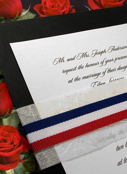 elegant patriotic invitation idea with unryu and red white and blue