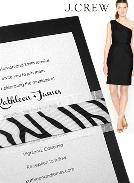 Modern Jet Black Invitation Idea with Unryu and Zebra Grosgrain Wrap