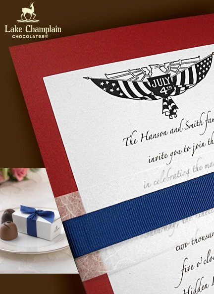 July 4th Wedding Invitations with Unryu & Cobalt Bands