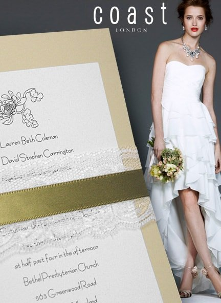 Rustic-Vintage Wedding Invitations with Lace and Satin Moss Wraps