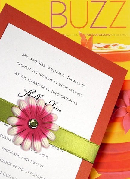 Chic Orange Wedding Invitations with Satin Band, Flower and Crystal Brad
