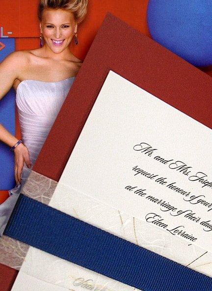 Modern Red, White and Blue Wedding Invitations with Belly Bands