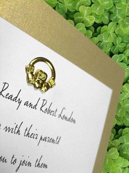 Irish Wedding Invitations with Beautiful Claddagh Brad