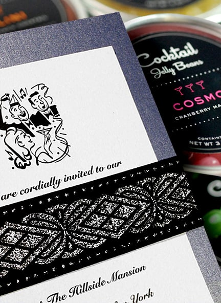 Fabulous Art Deco Wedding Invitation Idea with Jacquard Wrap