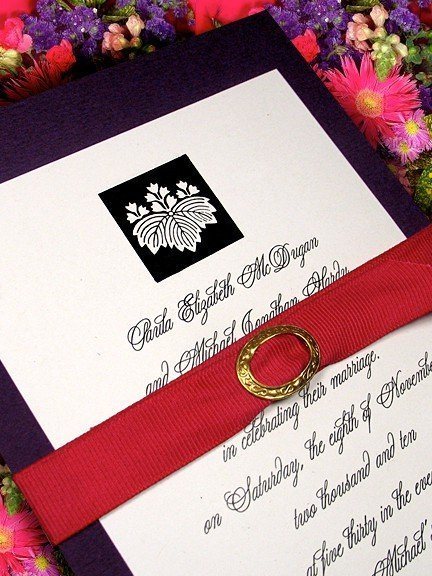 Luxe Purple Wedding Invitations with Fuchsia Grosgrain Belt and Brass Buckle