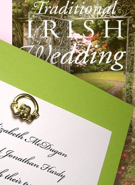 Lovely Irish Wedding Invitation Idea with Gold Claddagh Ring Brad