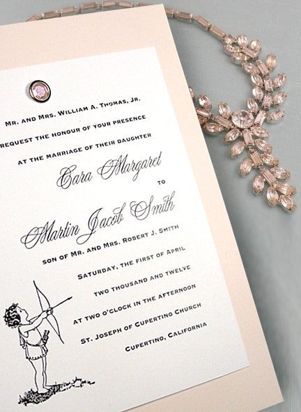 Vintage Pink Wedding Invitations with Rose Quartz Crystal Brad 66¢