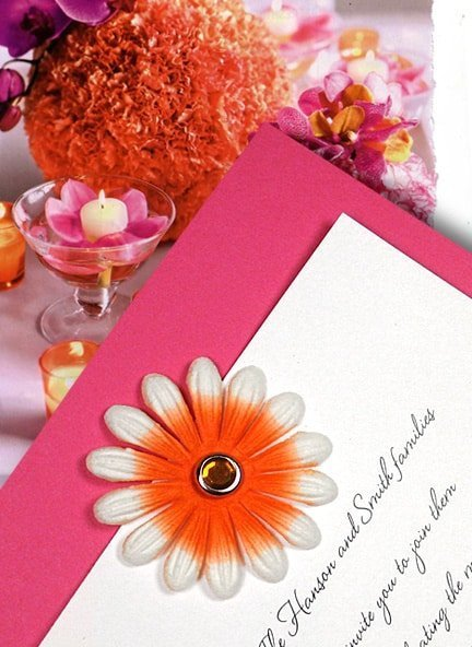 Chic Berry Pink Wedding Invitations with Embossed Orange Flower and Crystal Brad $1.02