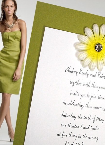 Chic Green Wedding Invitations with Embossed Flower and Crystal Brad