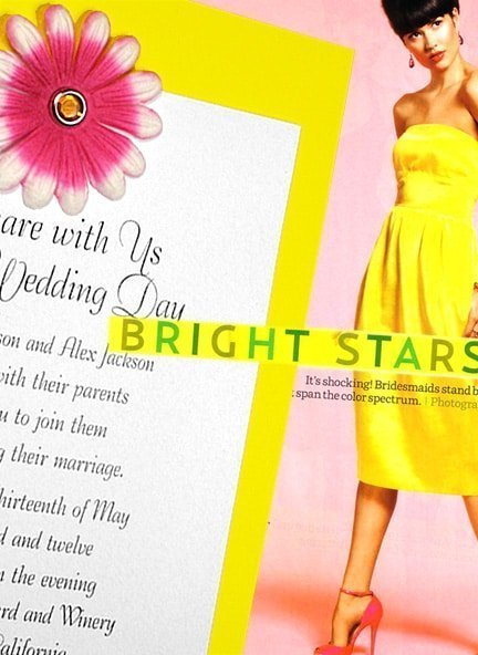 Bright Yellow Wedding Invitations with Embossed Pink Flower $1.02