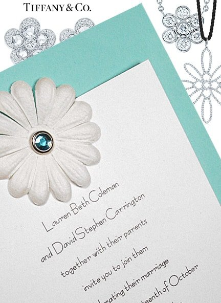 Fabulous Tiffany Blue Wedding Invitation with Embossed Flower $1.02