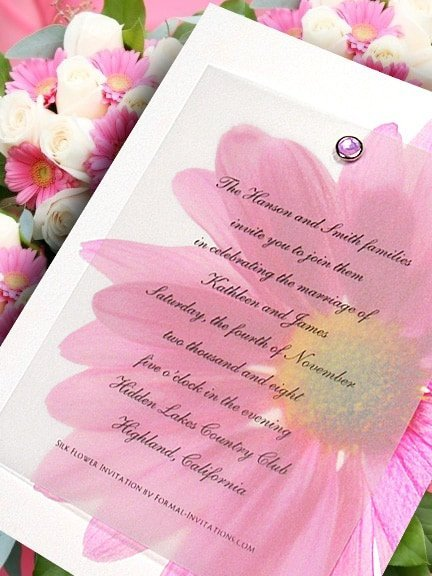 Idea for Pink Gerber Daisy Wedding Invitations with Crystal Brad