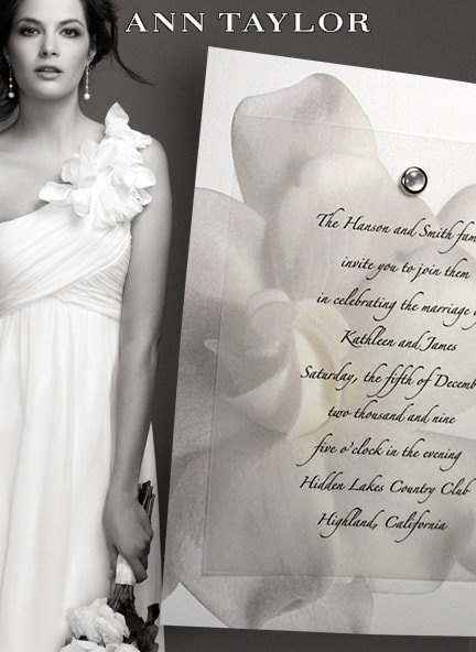 Elegant Gardenia Wedding Invitations with Pearl Jewel Brad