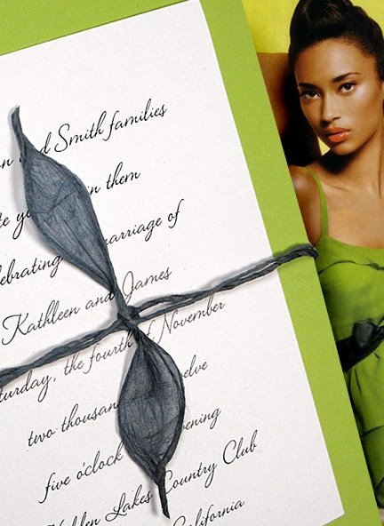 Beautiful Pear Green Wedding Invitations with Blue Lokta Cord Wrap $1.02