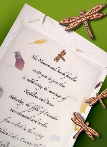 petal paper dragonfly garden invitations