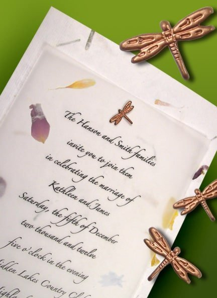 Exquisite Garden Petal Wedding Invitations with Dragonfly Brad