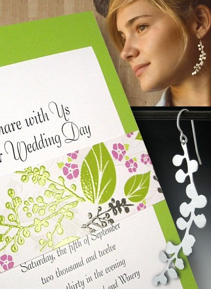 Fresh Greenery Wedding Invitations with Floral Embossed Sash