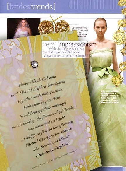 Romantic Art Nouveau Wedding Invitations with Pearl Jewel Brad 86¢