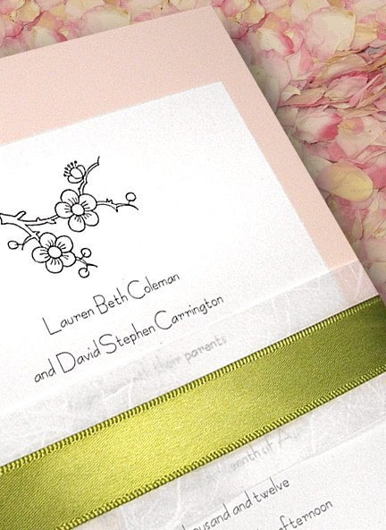 Beautiful Pink Wedding Invitations with Cherry Blossoms and Moss Belly Band 98¢