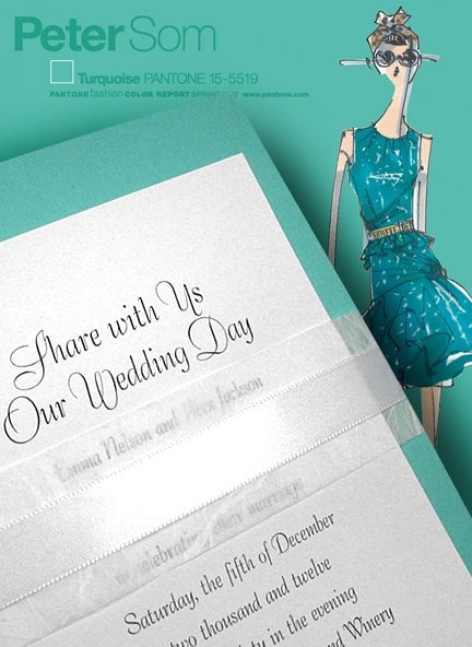Pretty Turquoise Wedding Invitations with Unryu and White Satin Belly Bands 98¢