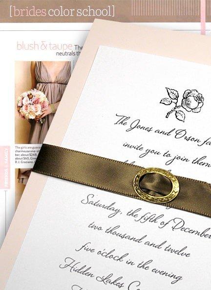 Beautiful Blush Pink Wedding Invitations with Brown Satin Belt $1.02