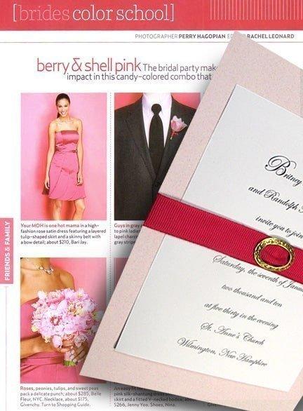 Pretty Shell Pink Wedding Invitations with Fuchsia Grosgrain Belt