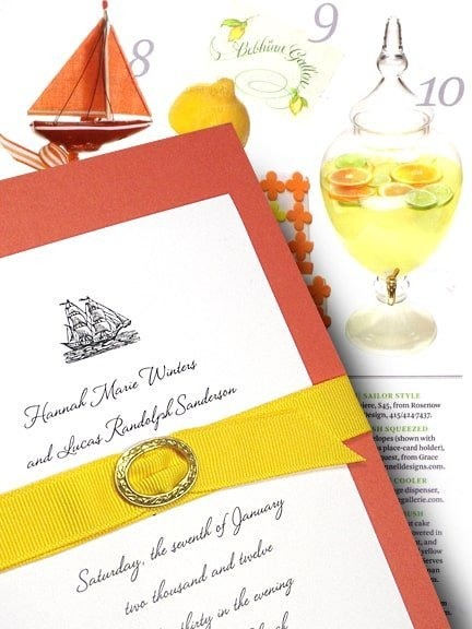 Chic Orange Beach Wedding Invitations with Yellow Belt 98¢